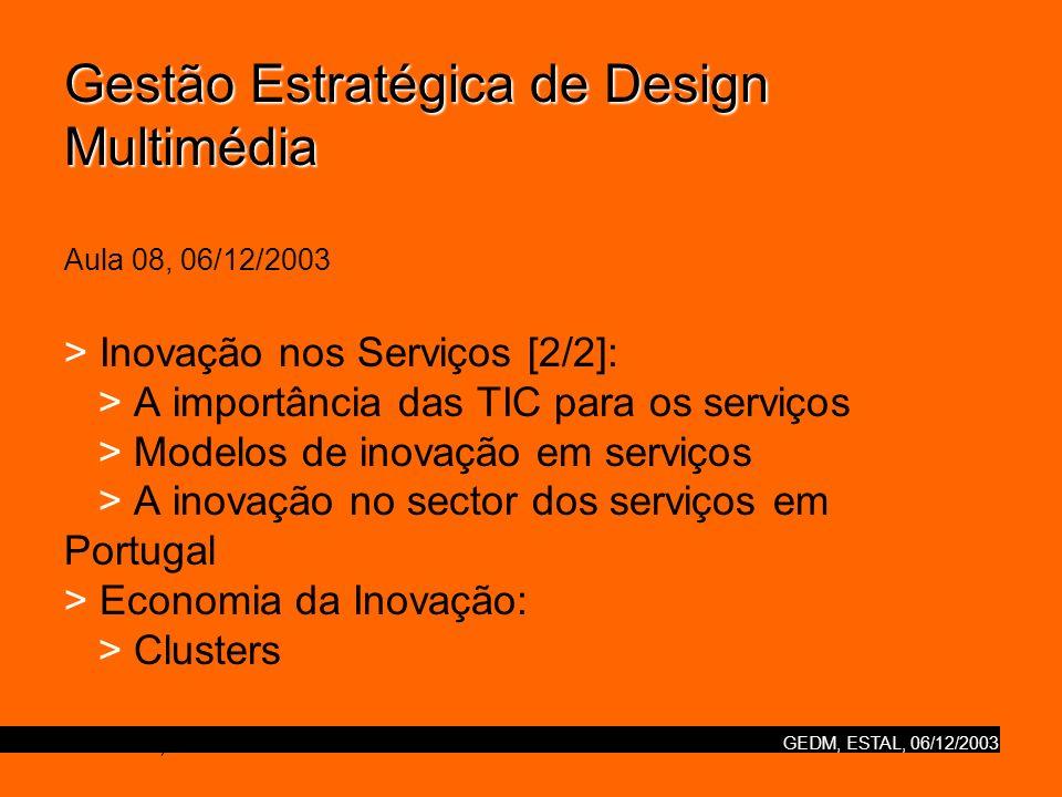 Gestão Estratégica de Design Multimédia Aula 08, 06/12/2003 > Inovação nos Serviços [2/2]: > A importância das TIC para os serviços > Modelos de inovação em serviços > A inovação no sector dos serviços em Portugal > Economia da Inovação: > Clusters ESTAL, Nuno Correia